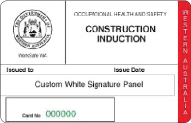 Western Australia construction induction card