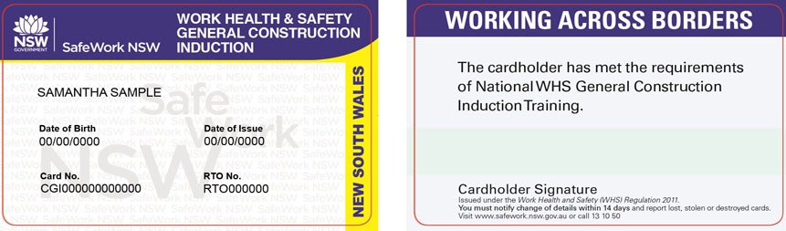 Image of a SafeWork NSW construction induction card issued from 1 June 2016