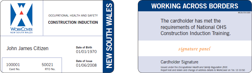Sample NSW construction induction card (1 September 2009 – 31 December 2011)