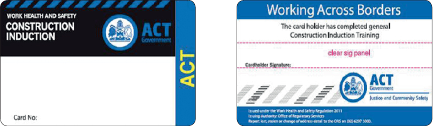 Sample ACT construction induction card (from 1 January 2012)