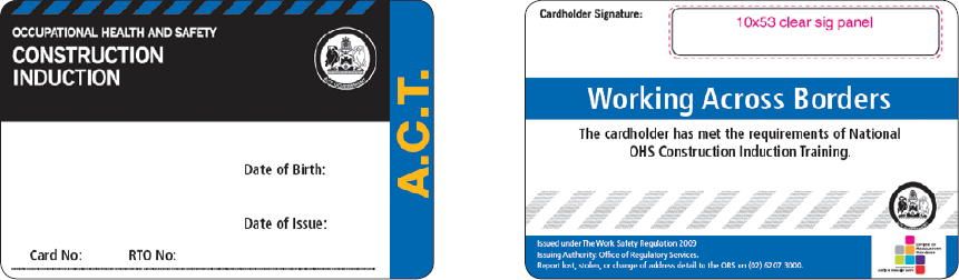 Sample ACT construction induction card (1 September 2009 – 31 December 2011)