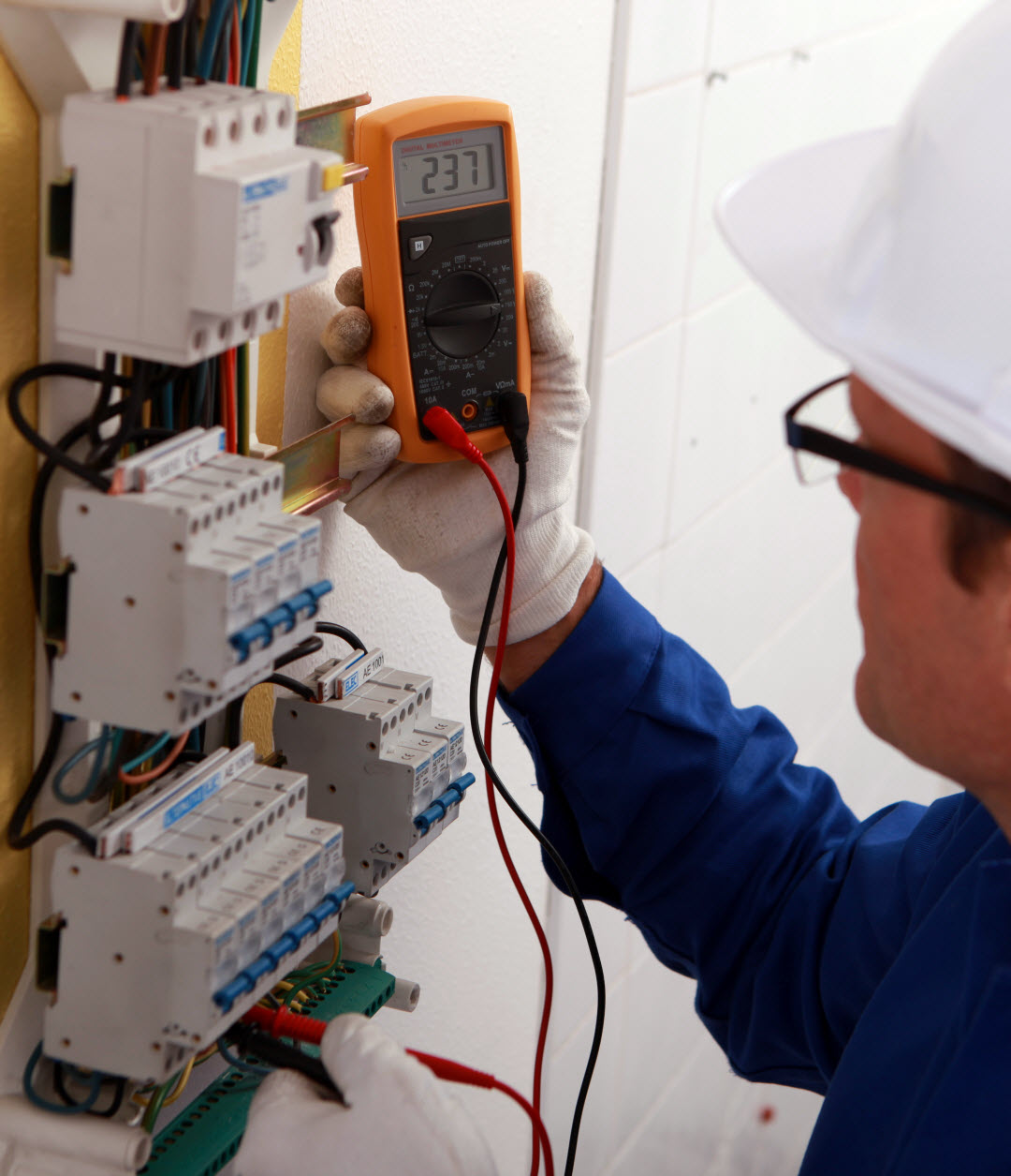 Electrician testing a circuit