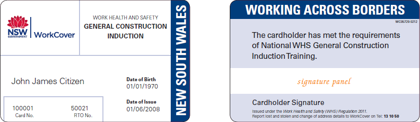 Sample NSW GIT card issued under the WHS Regulation (from 1 January 2012)