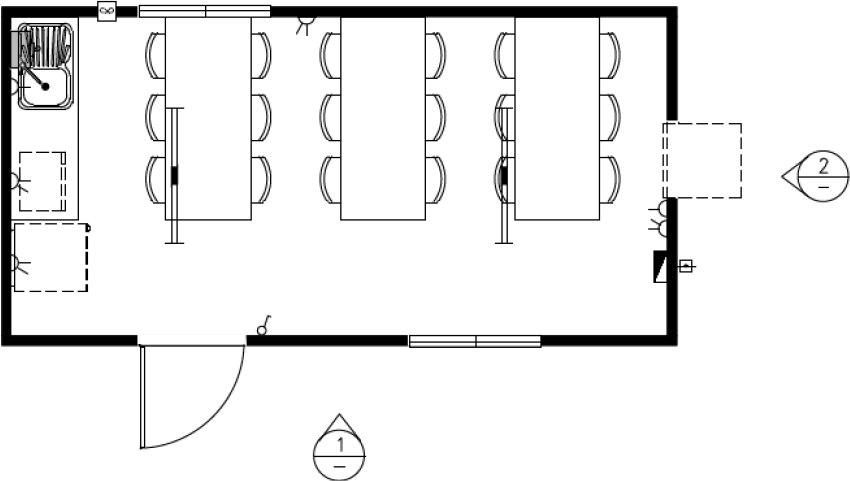 A drawing of a sample meal room that is 6.0 metres long and 3.0 metres wide that is designed to accommodate a maximum of 18 people.