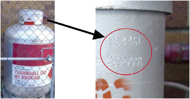 Figure 7: Gas cylinder and a close-up view showing WC value