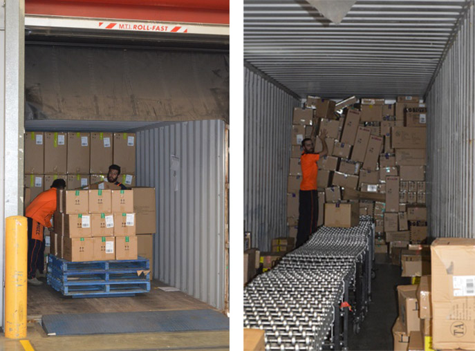 Images of workers stacking boxes from container onto pallets and unloading with manual conveyor