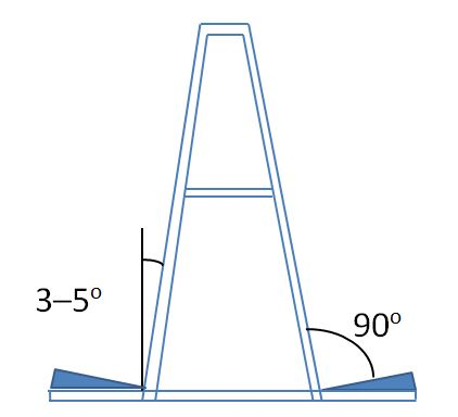 Diagram of an A-frame for storing glass