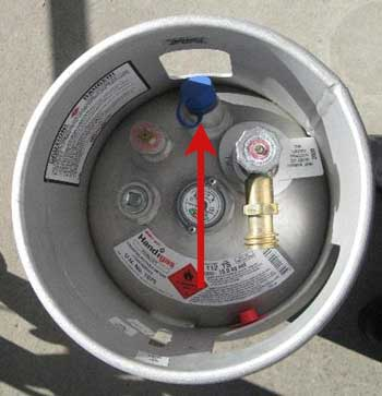 Showing the correct position of the pressure relief valve