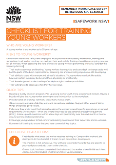 Training young workers checklist