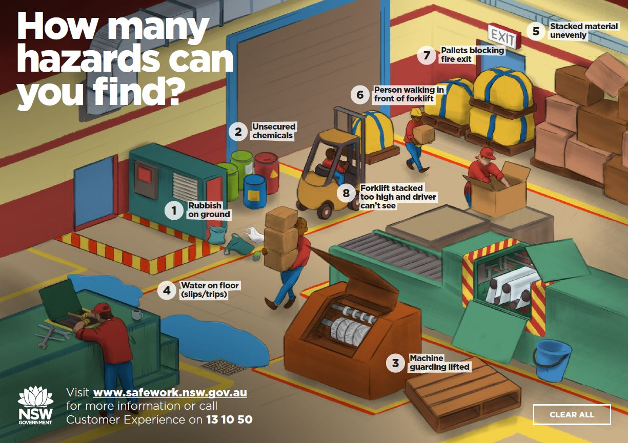 This is an image of a factory that has eight safety hazards.