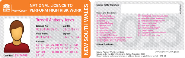 An image example of high risk work licenses and what to look out for