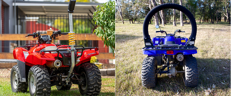 Two examples of an operator protection device on quad bikes