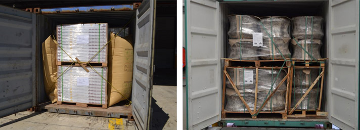 Images of containers with bulky items loaded on pallets and stacked