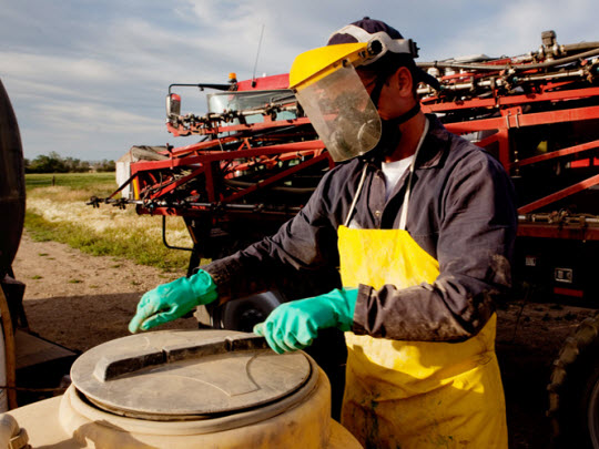 A farmer with protective gloves, apron and mask  preparing chemicals to spray on a field