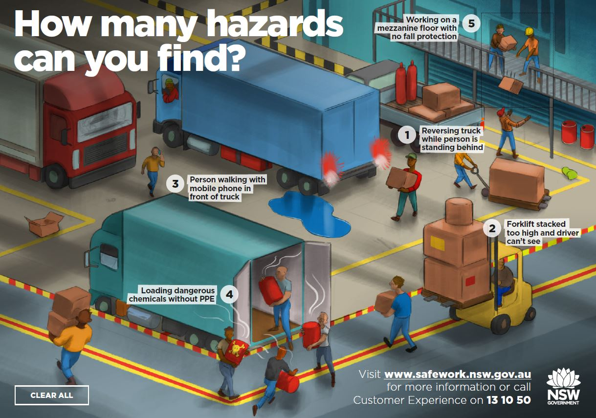 Image of a truckyard with five safety hazards
