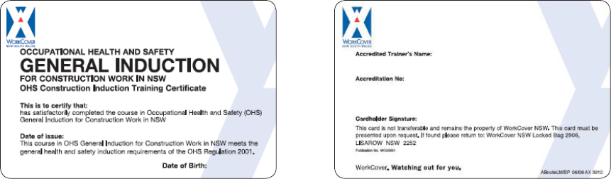 Sample NSW construction induction card (29 March 2004 – 31 August 2009)