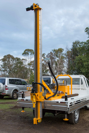 Drilling rig mounted on a utility