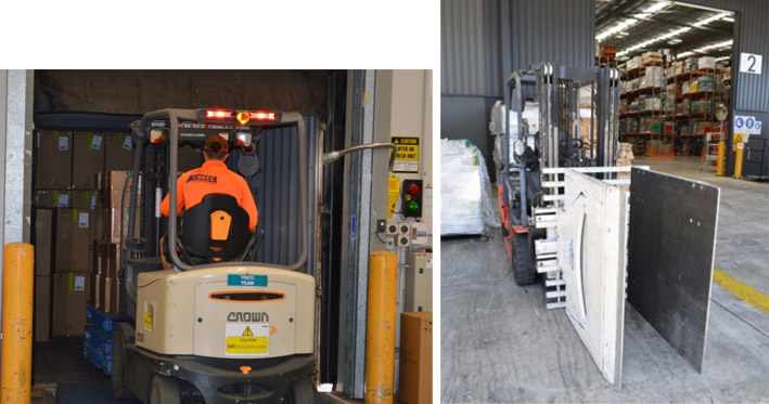 Image of workers using suitable equipment to unload like a fork lift truck with grabs