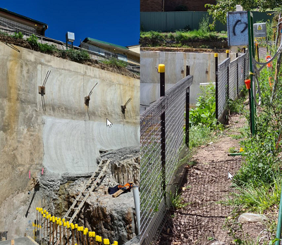 Two pictures side-by-side of a worksite including a seven metre drop