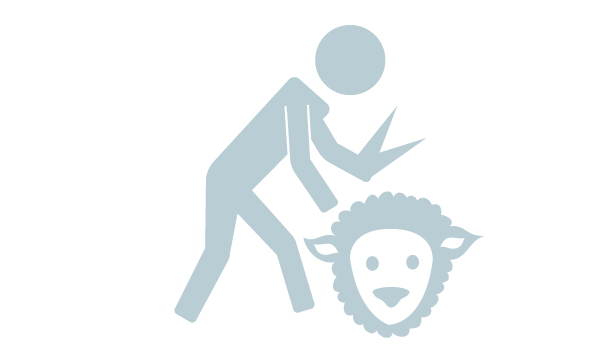 Icon of person shearing