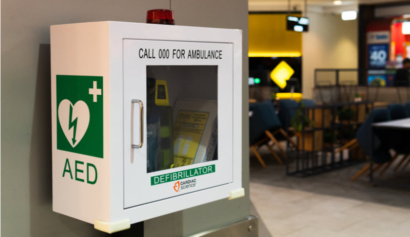 AED heart difibrilator in shopping center. Emergency life saving equipment.
