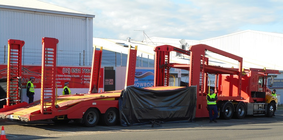 The transport trailer involved in the incident