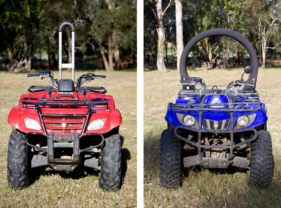 Quadbar and Lifeguard fitted on quad bike.