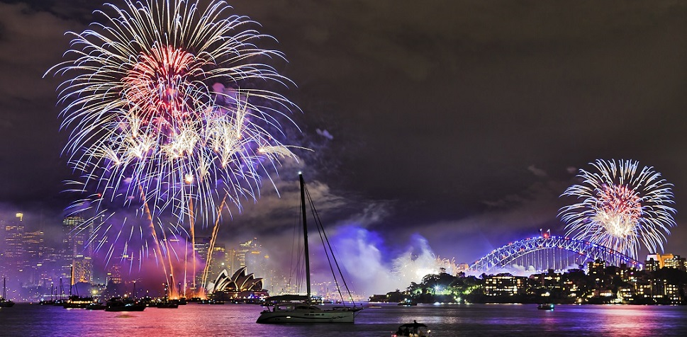 fireworks over harbour