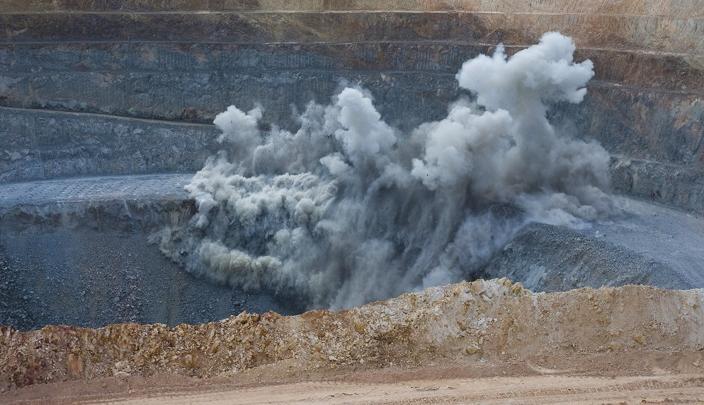 Image of explosives at mining site.