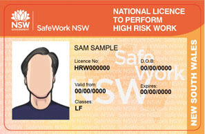 Sample high risk work licence of Sam Sample