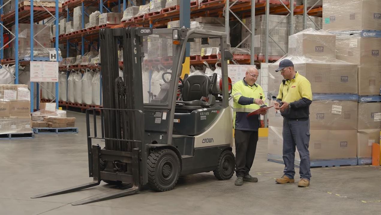 Forklift instructional safety video image