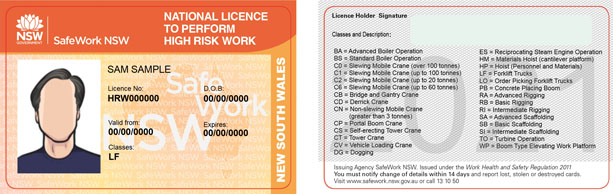 Example image of high risk licences and what to look out for