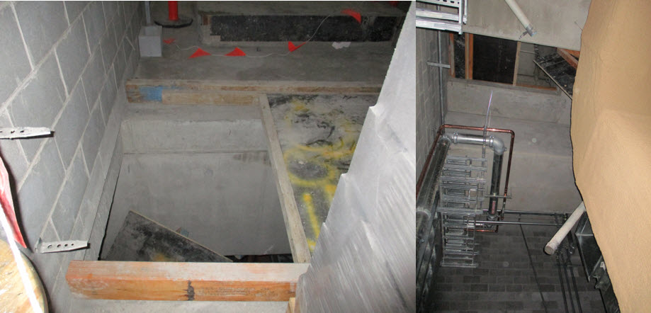 Pic 1 & 2. View of open penetration from the plant room where the worker has fallen through and view from the level below looking up at the opening.