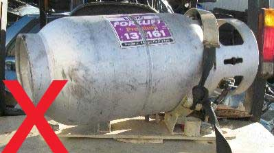 Wrongly mounted gas cylinder