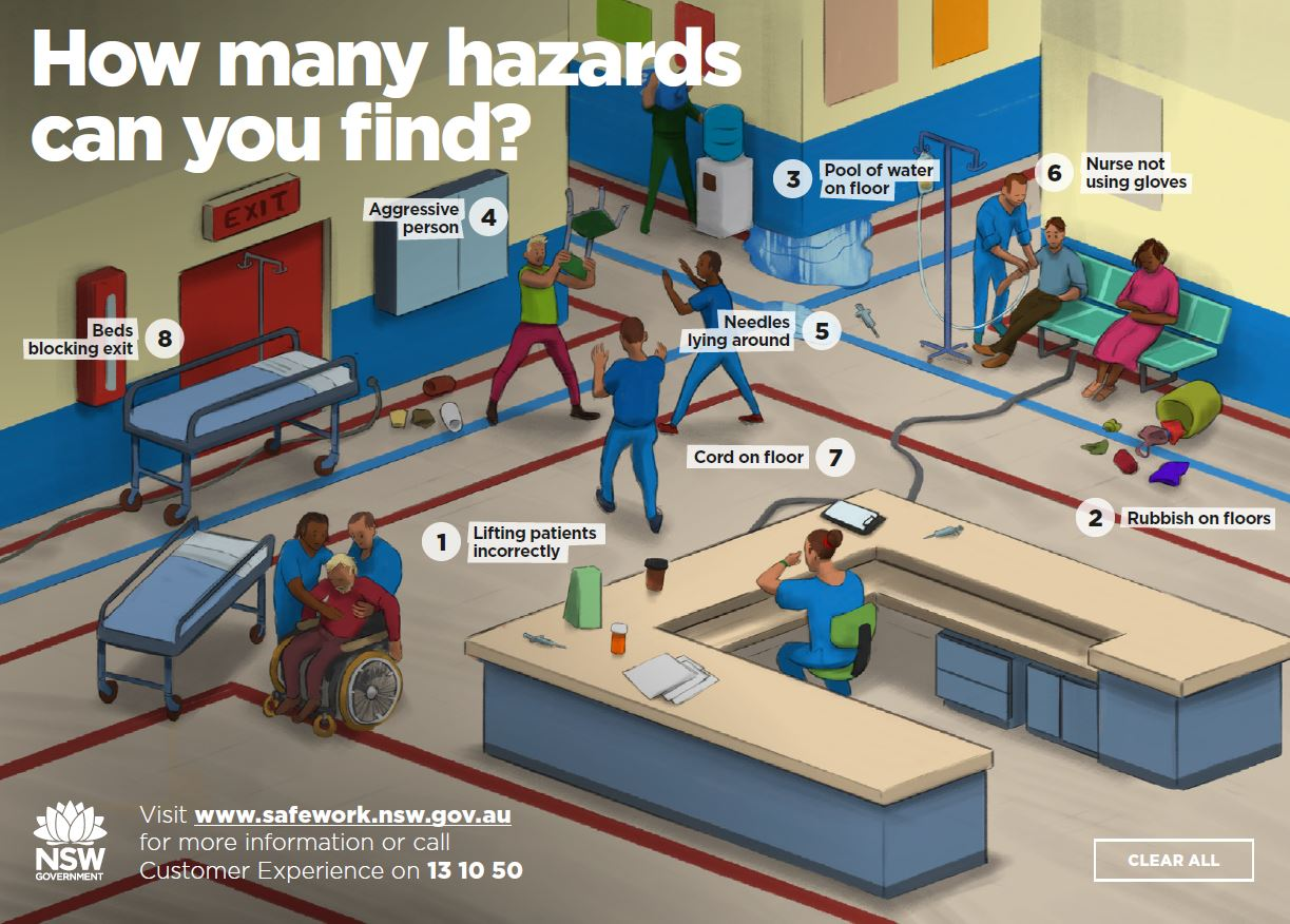 image of a hospital floor with eight safety hazards