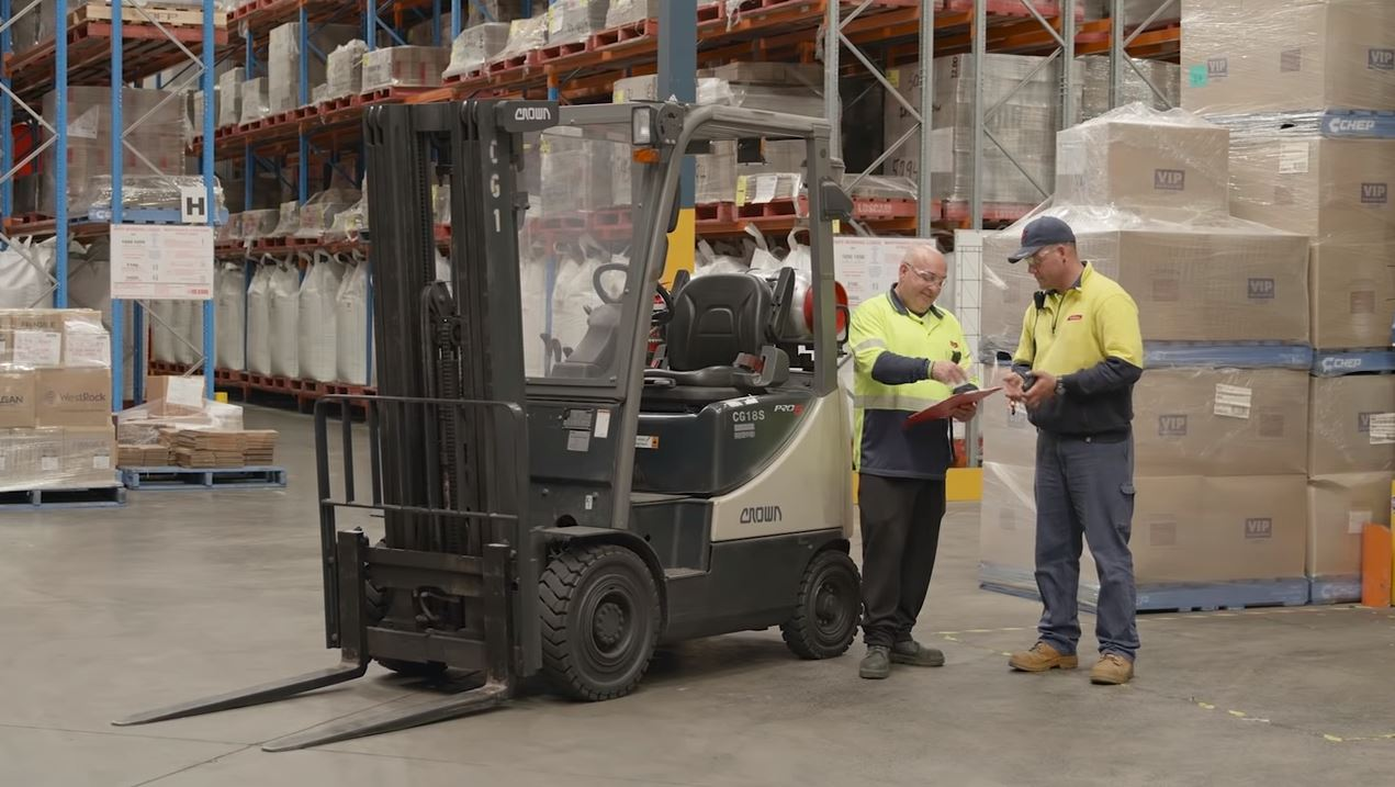 Forklift instructional safety video image